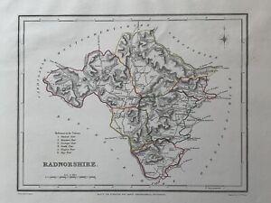 1848 Radnorshire, Galles Originale Antico a mano color MAP 172 anni