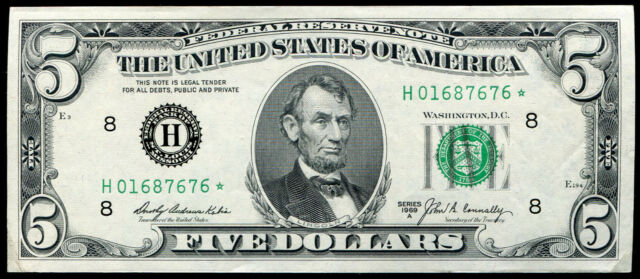 FR. 1970-H* 1969-A $5 *STAR* FRN FEDERAL RESERVE NOTE ST. LOUIS, MO GEM UNC