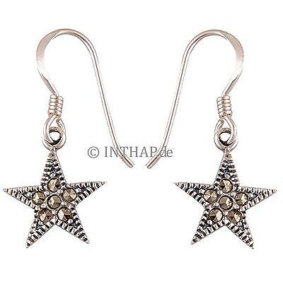 Ohrringe Sterne - 1 Paar Ohrhänger aus 925 Sterling Silber mit Markasit  In16-33