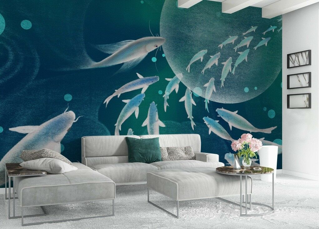 3D Fish Group Space 5 Wall Paper Exclusive MXY Wallpaper Mural Decal Indoor wall