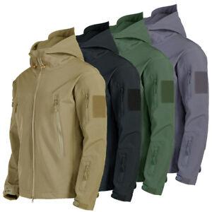 Softshell-hombre-chaqueta-de-Exterior-Impermeable-Capucha-Abrigo-Camping-Tactico