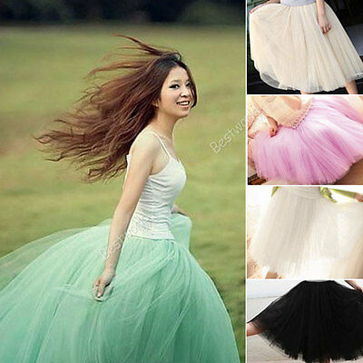 Womens Girls Layered Tulle Dress Princess Fairy Bouffant Skirt 4 Colors