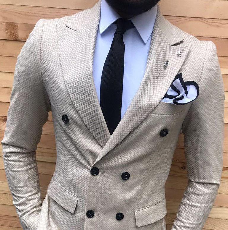Designer Geschäft Kariert Gold Beige Herrenanzug Doppelreiher Tailliert Slim 56