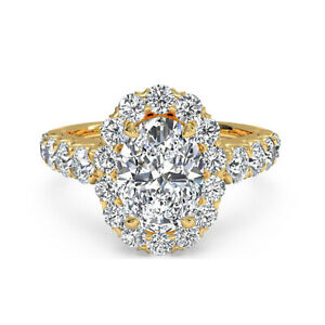1.75 Ct Oval Real Moissanite Engagement Superb Ring 18K Solid Yellow Gold Size 9