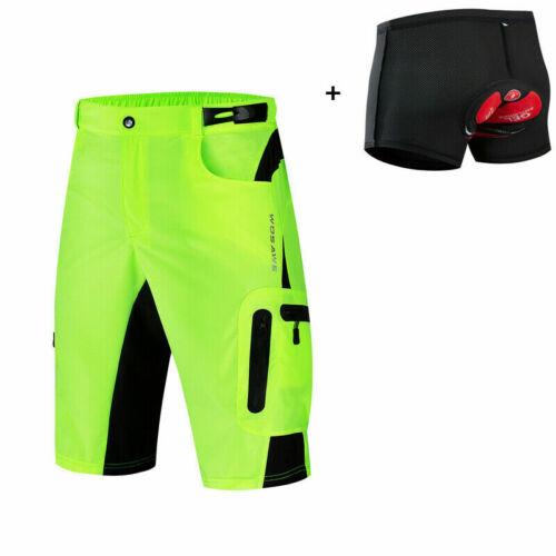 Mens Padded Baggy Cycling Shorts MTB Mountain Bike Pants Casual Sports Downhill