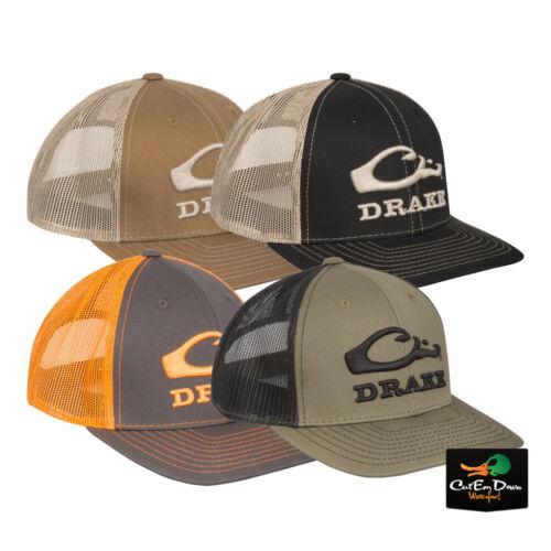 DRAKE WATERFOWL SYSTEMS LOGO MESH BACK BALL CAP SNAP BACK TRUCKER HAT