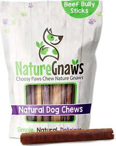 Nature Gnaws Bully Sticks for Large Dogs - Premium Natural Beef Bones - Thick -