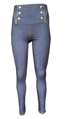 New Ladies Womens Stretchy Denim Zip  Skinny Jeggings Leggings Plus Size 8-26 UK