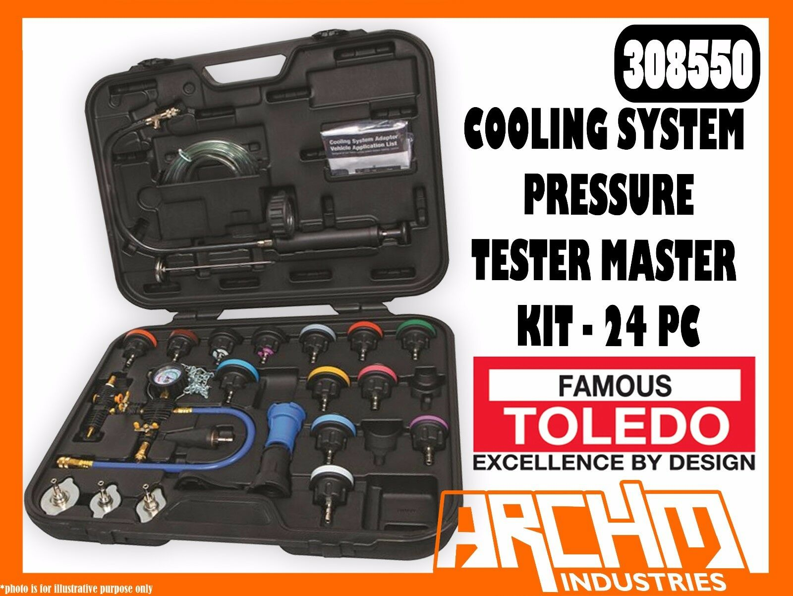 TOLEDO 308550 - COOLING SYSTEM PRESSURE TESTER & VACUUM REFILL MASTER KIT 24 PC