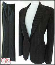 NEXT LADIES BLACK WITH PURPLE PINSTRIPE TROUSER SUIT BUSINESS  WORK 10/12 BNWT