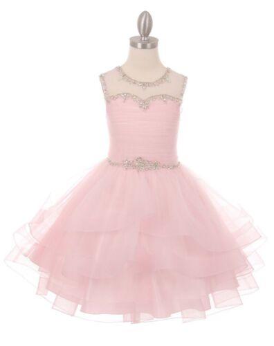 New Blue Organza Tulle Flower Girls Dress Pageant Wedding Party Fancy Dance 5050