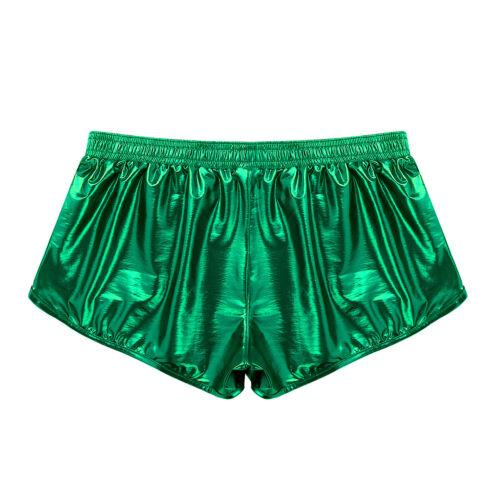Mens Shiny Metallic Boxer Briefs Swim Shorts Panties Trunks Swimwear Underwear