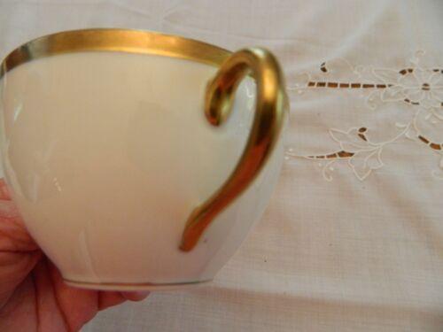 Haviland France China Gold Trim boullion Soup Bowl /& Saucer 2-3