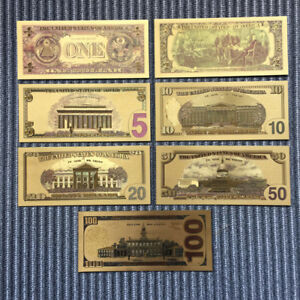 7-PCs-Set-Banknotes-Ancient-Collection-Paper-Dollars-Antique-Gold-Plated-Money