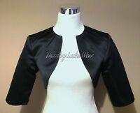 Black Satin Bolero/shrug/jacket/stole/shawl/wrap/tippet 3/4 Pleated Neck Uk 4-26