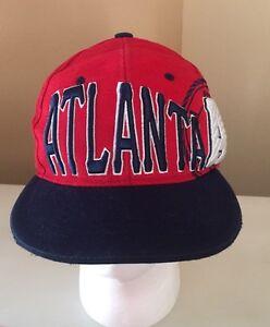 c968439afe0 Vintage 90 s Atlanta Braves MLB Snapback Hat Cap One Nation Headwear ...