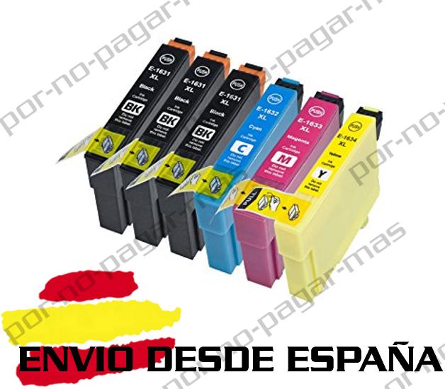 6 CARTUCHOS DE TINTA COMPATIBLE NON OEM PARA EPSON WF-2750DWF T1631/2/3/4