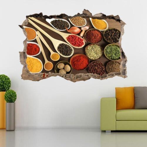 Hierbas y especias Cocina Comida 3D se estrelló Pared Adhesivo Calcomanía Mural de Arte J1194