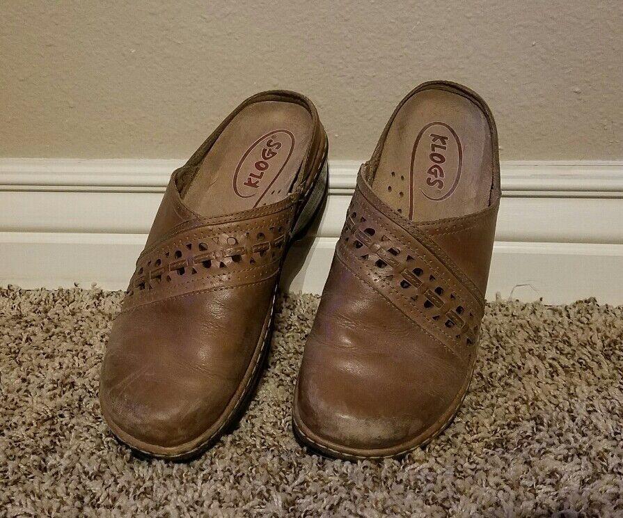 Klogs Syracuse femmes 8.5 M marron Cutouts Leather Slip Resistant Clogs Mules