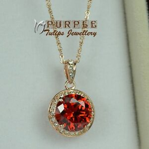 Elegant-Ruby-Round-Necklace-Made-With-SWAROVSKI-Crystals-18K-Rose-Gold-Plated