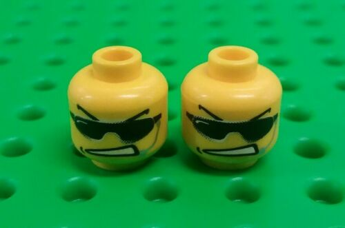 *NEW Lego Sunglass Angry Faces Heads for Minifigures Agent Figs 2 pieces