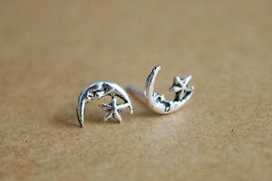 925-Silver-Moon-and-Star-Earrings-Crescent-moon-earrings-Boho-earrings-star