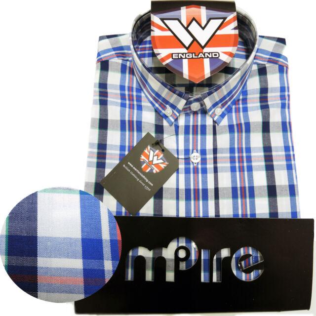 Warrior Retro Short Sleeve Button Down Shirt NELSON Mod Skinhead Blue White Red