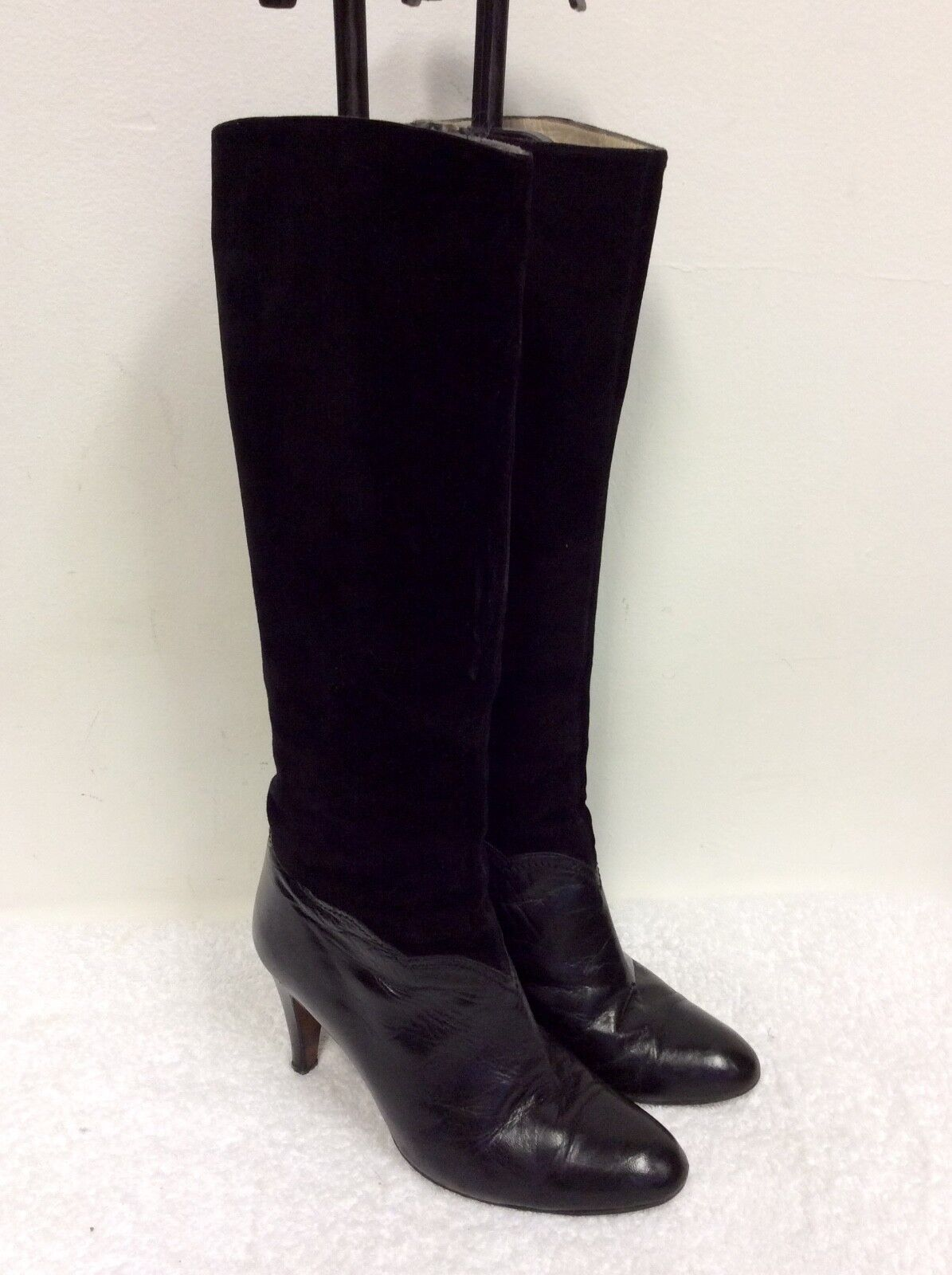 VINTAGE ROSETA BY JUAN TRAID BLACK SUEDE & LEATHER KNEE LENGTH Stiefel SIZE 4/37