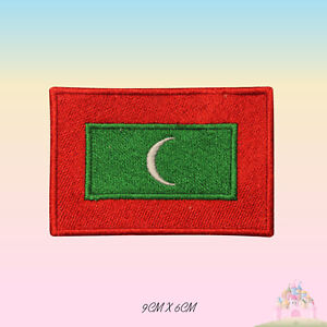 Maldives-National-Flag-Embroidered-Iron-On-Patch-Sew-On-Badge-Applique