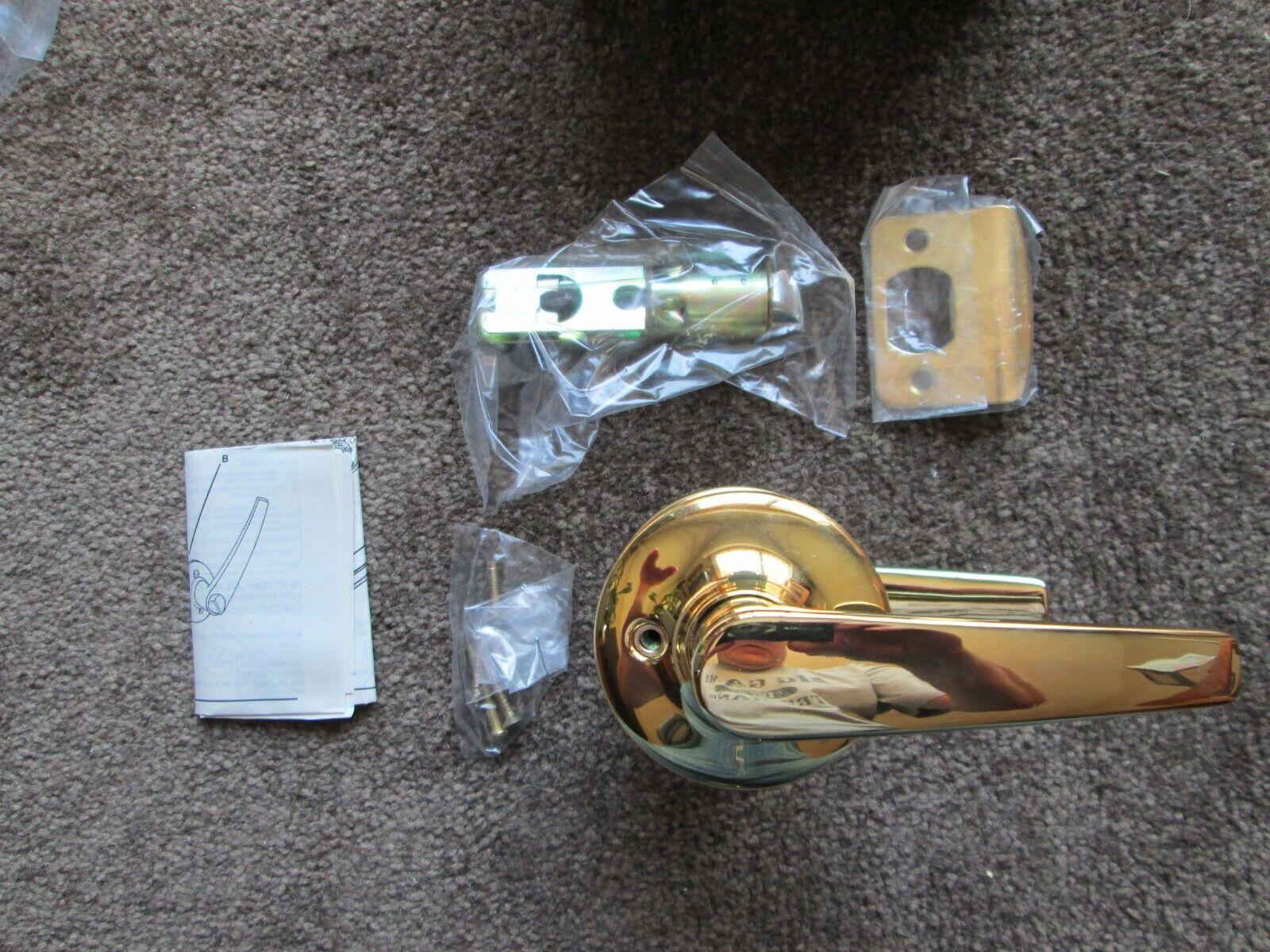 Polished Lever Handle Bright Brass Interior Door Knob Passage Entry lock Sets