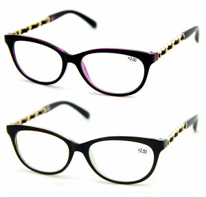 Large Frame Ladies Reading Glasses : Women Lady Classic Big Frame+Gold Chain Temple Reading ...