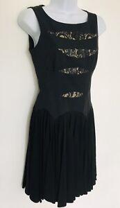 Karen-Millen-Black-Lace-Cut-Out-Party-Cocktail-Fit-And-Flare-Ladies-Dress-6-8