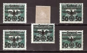 DR-Nazi-3rd-Reich-Rare-WW2-Stamp-Overprint-Swastika-Eagle-Occupation-Poland-GG