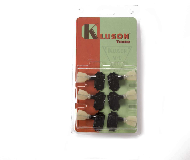 Klison Revolution Tuners - 3x3 No Collar Pearloid button - schwarz KEDPNC-3801B