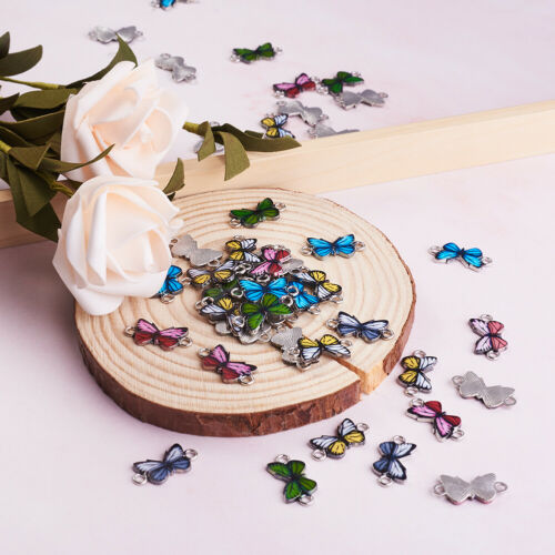 100pcs Colorful Printed Alloy Enamel Links Connectors Butterfly Charms 12x33mm