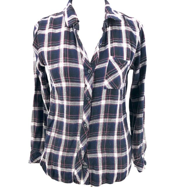 Rails Small Hunter Plaid Shirt Top Navy Blue Button Down Flannel Soft