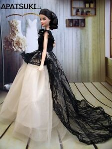 Doll Dress Long Tail Evening Gown Clothes Lace Wedding Dress for ... 0c7e6f54096b