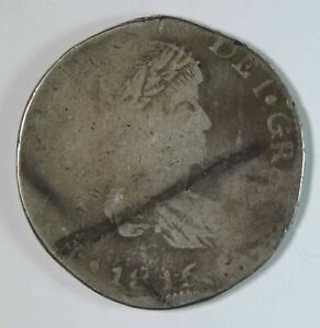 1816 D MZ Assayer Mexico Durango Silver 8 Reales Coin War of Independence