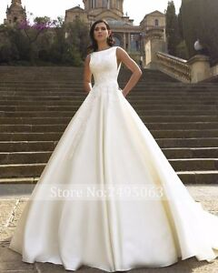 Image Is Loading Custom Made White Ivory Satin Ball Gown Wedding