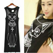 Kawaii Clothing Cute Ropa Dress Cat Long Egypt Ankh Punk Black Gothic Harajuku