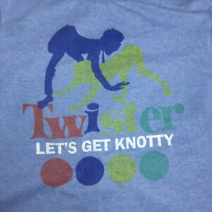Twister 2011 Hasbro Mottled Blue T-Shirt Let's get naughty knotty motif funny