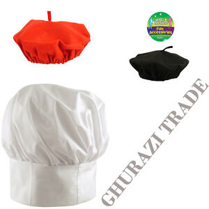 fdc55361192 WHITE TALL CHEF HAT BLACK RED FRENCH BERET HAT UNISEX FANCY DRESS ...