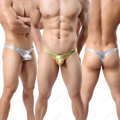 Men's Shiny Capsular Bag Thong Sexy Faux Leather T-back Underwear M-XL NK19