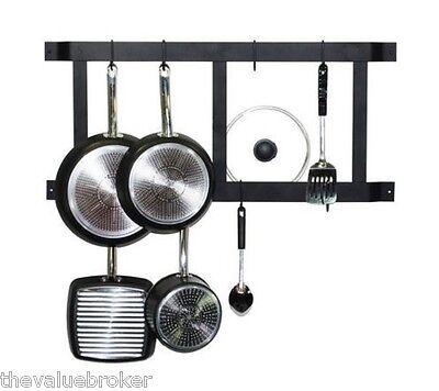 Pot Rack Wall Mount Kitchen Organizer Shelf Pan Hanger Hooks Cookware Storage