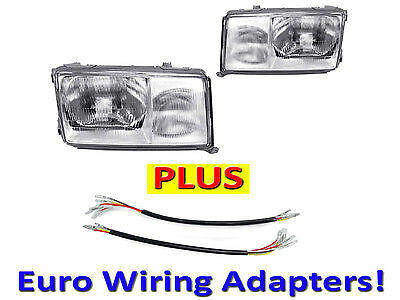 1986-1993 MERCEDES BENZ W124 DEPO EURO GLASS HEADLIGHTS PAIR + WIRING ADAPTERS