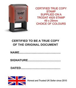 Image Is Loading CERTIFIED TRUE COPY SELF INKING RUBBER STAMP PAD