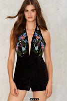 Glamorous Women's Black Bead Limit Embellished Velvet Romper Sizes Large & Med
