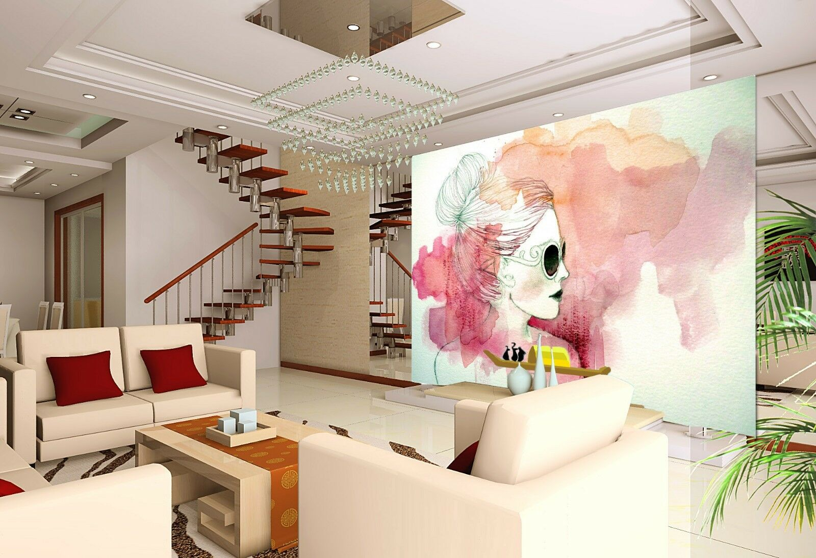 3D Sunglasses woman painting Wall Paper Print Decal Wall Deco Indoor wall Mural
