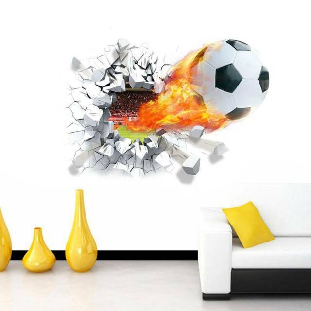 3D Soccer Ball Football Wall Sticker Decal Kids Bedroom Home Room Decor