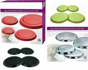 4 PCS STAINLESS STEEL COLOURED HOB COVER//PROTECTOR METAL RING ELECTRIC COOKER